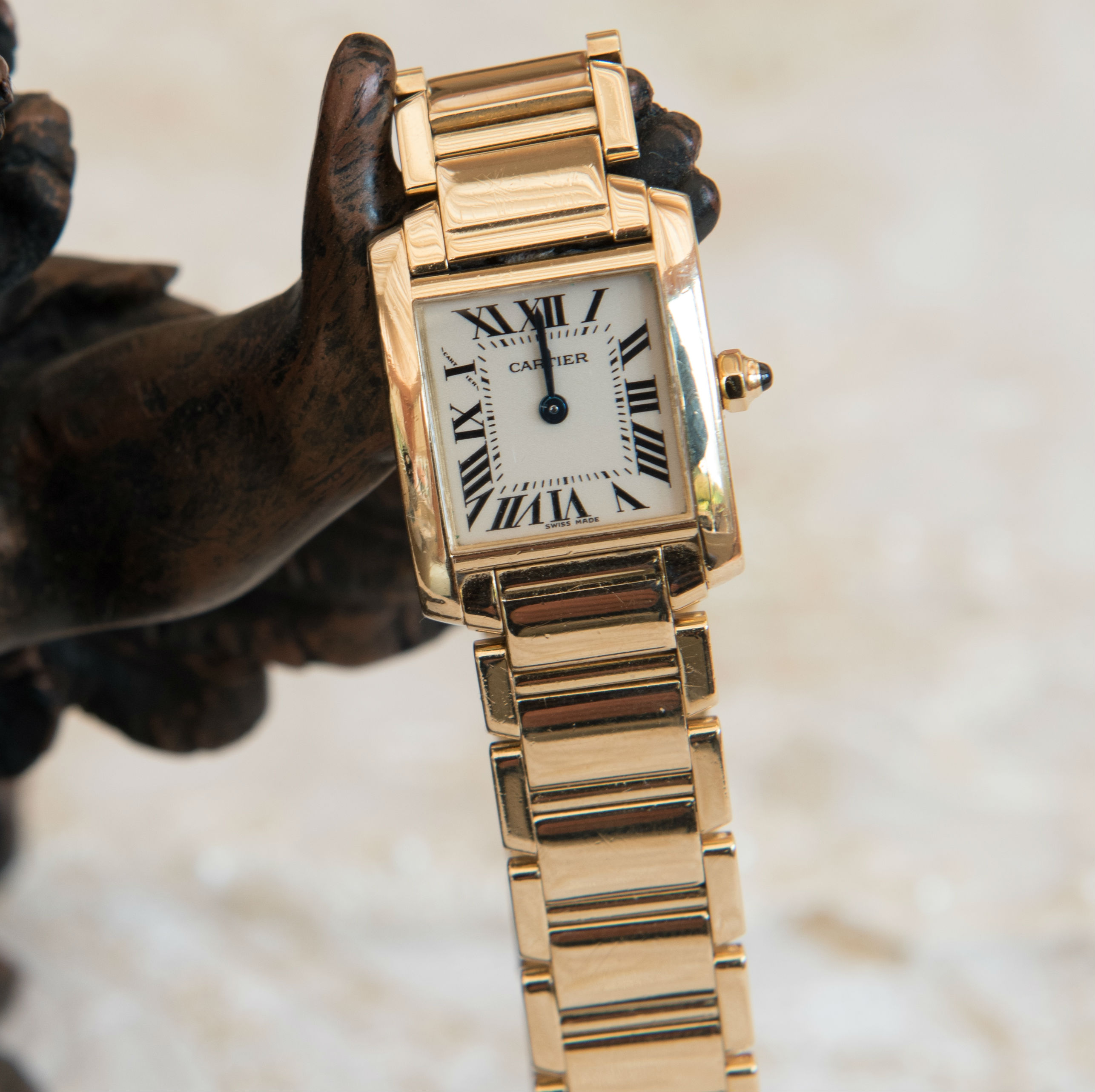 cartier leather gold small watches louis strap pin tank watch