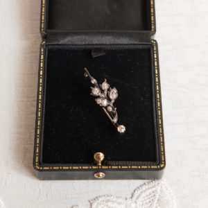 Diamond Gold Flower Corsage Brooch