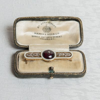 Edwardian Amethyst and Diamond White Enamel Brooch