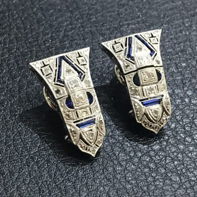 Art Deco Articulated Diamond & Sapphire Post & Clip Earrings