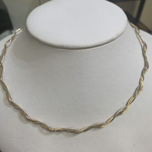 18 Carat Yellow, White and Rose Gold Necklace