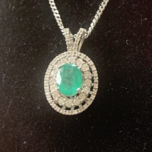 Emerald and Diamond 14 Carat White Gold Pendant