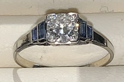 Diamond and Sapphire Set in Platinum Engagement/Dress Ring