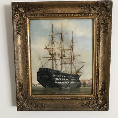 HMS Victory H Robins Oil On Board