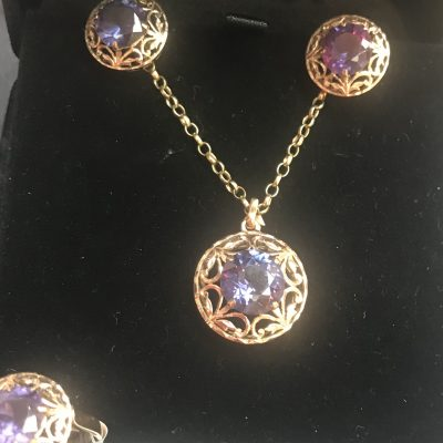 Alexandrite Colour Change Sapphire Suite of Jewellery set in 9 Carat Yellow Gold