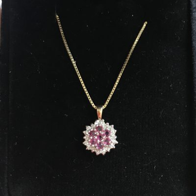 Ruby and Diamond Necklace with 9 Carat Curb Chain