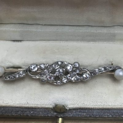 Victorian Diamond and Pearl Platinum and 18ct Gold Bar Brooch