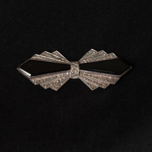 Art Deco Marcasite and Onyx Bow Brooch