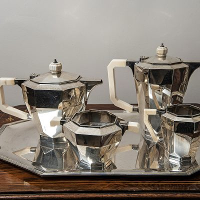 Art Deco Silver and Ivory 5 Piece Tea Set