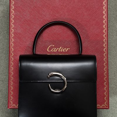 Cartier Black Handbag with Palladium Panther Clasp
