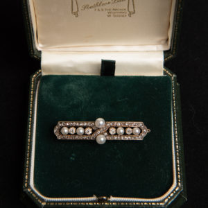 Garland Period Diamond and Pearl Brooch
